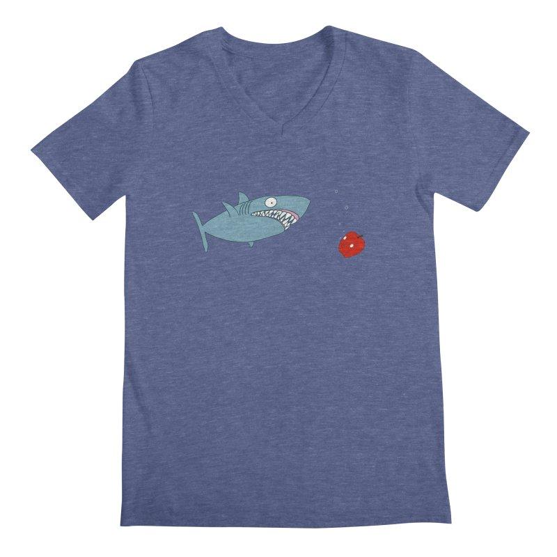 Shark and Apple Men's Regular V-Neck by KAUFYSHOP