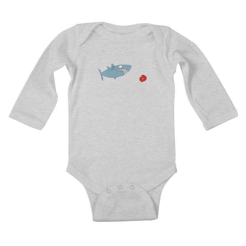 Shark and Apple Kids Baby Longsleeve Bodysuit by KAUFYSHOP