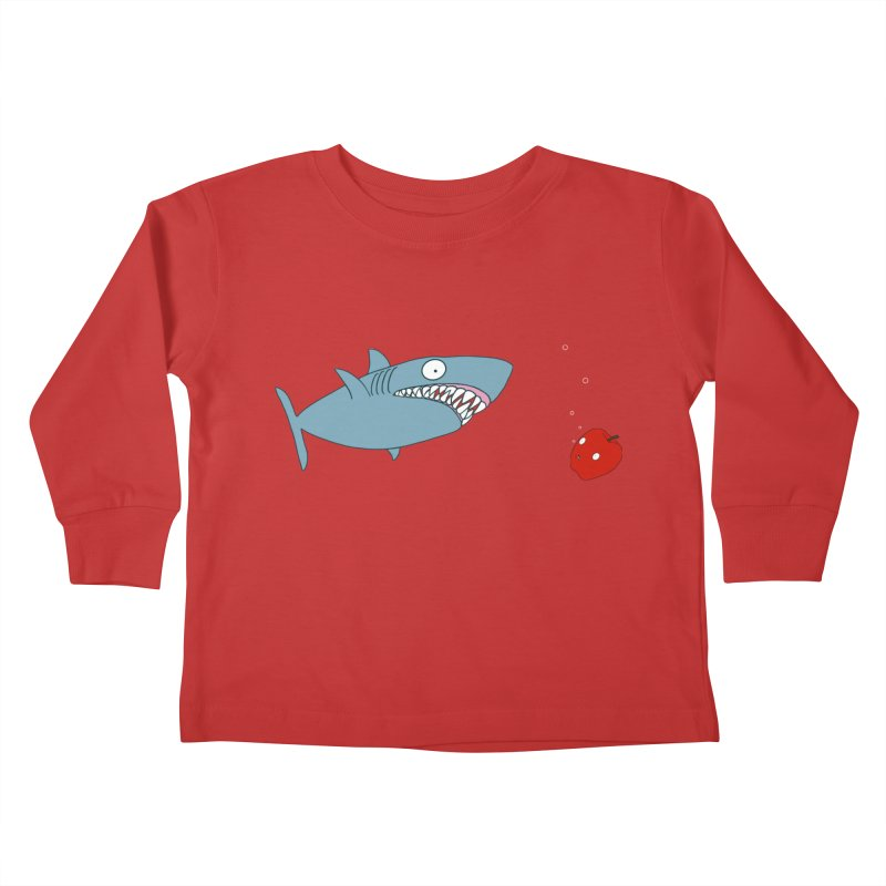 Shark and Apple Kids Toddler Longsleeve T-Shirt by KAUFYSHOP