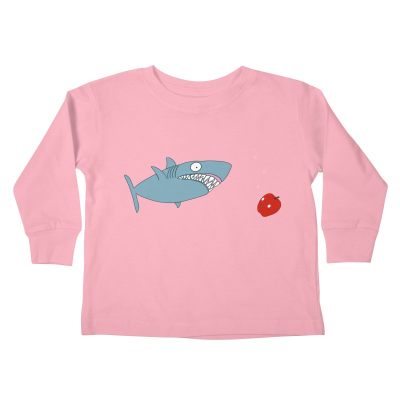 Shark and Apple Kids Toddler Longsleeve T-Shirt by KAUFYSHOP
