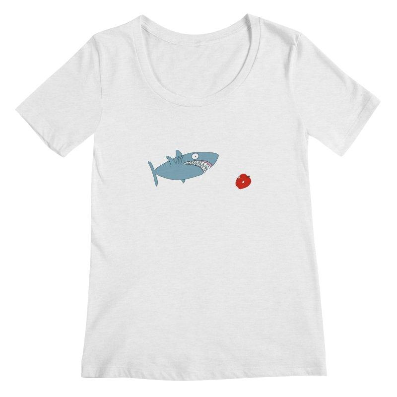 Shark and Apple Women's Regular Scoop Neck by KAUFYSHOP