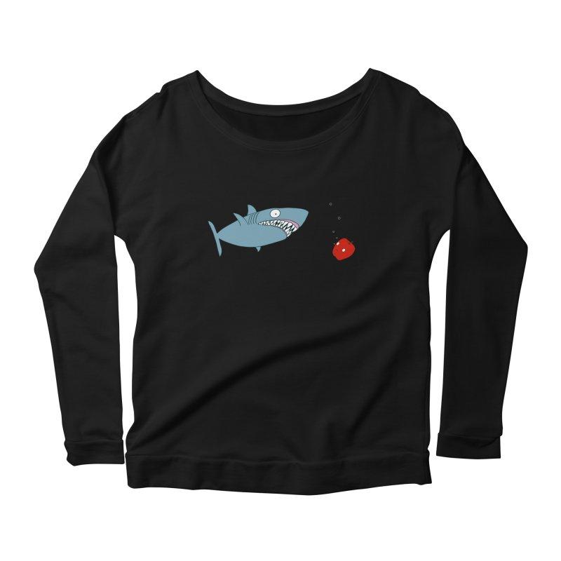 Shark and Apple Women's Scoop Neck Longsleeve T-Shirt by KAUFYSHOP