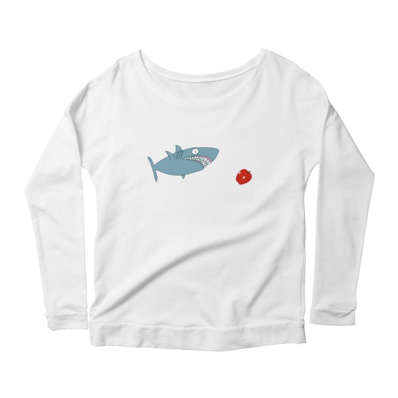 Shark and Apple Women's Scoop Neck Longsleeve T-Shirt by KAUFYSHOP