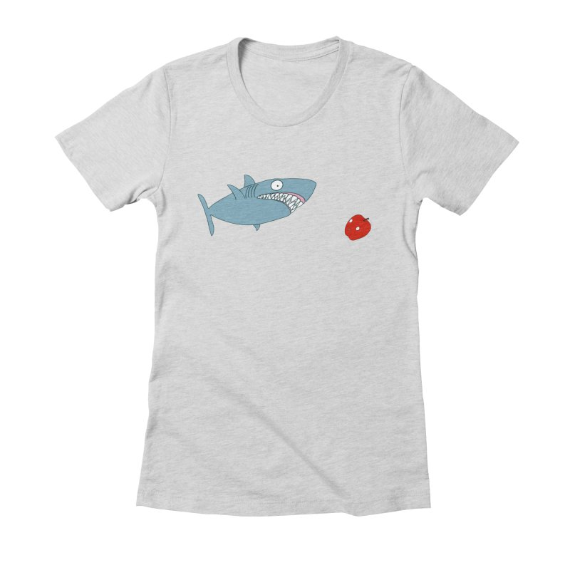 Shark and Apple Women's Fitted T-Shirt by KAUFYSHOP