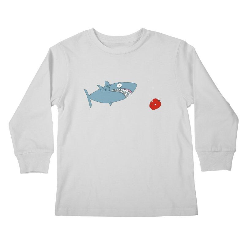 Shark and Apple Kids Longsleeve T-Shirt by KAUFYSHOP