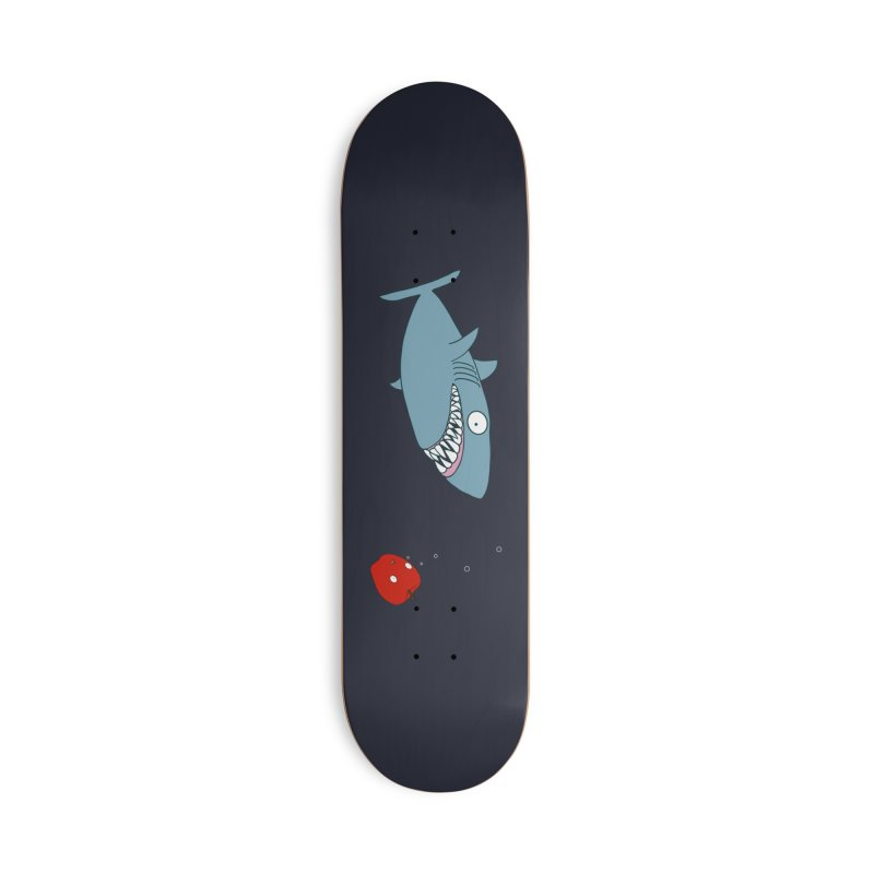 Shark and Apple Accessories Deck Only Skateboard by KAUFYSHOP