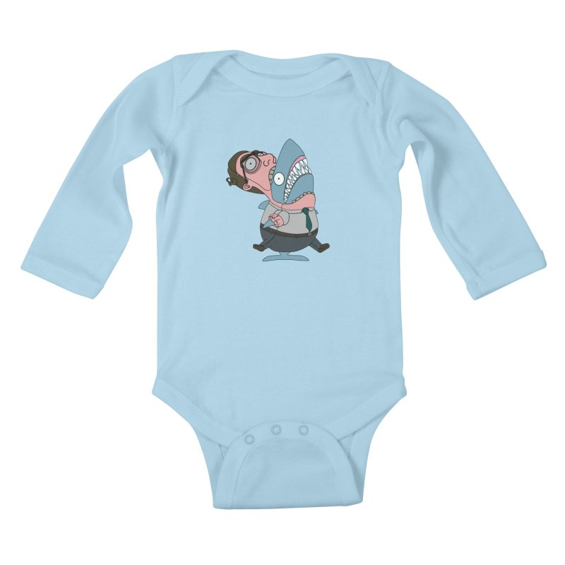 Man Shark Kids Baby Longsleeve Bodysuit by KAUFYSHOP