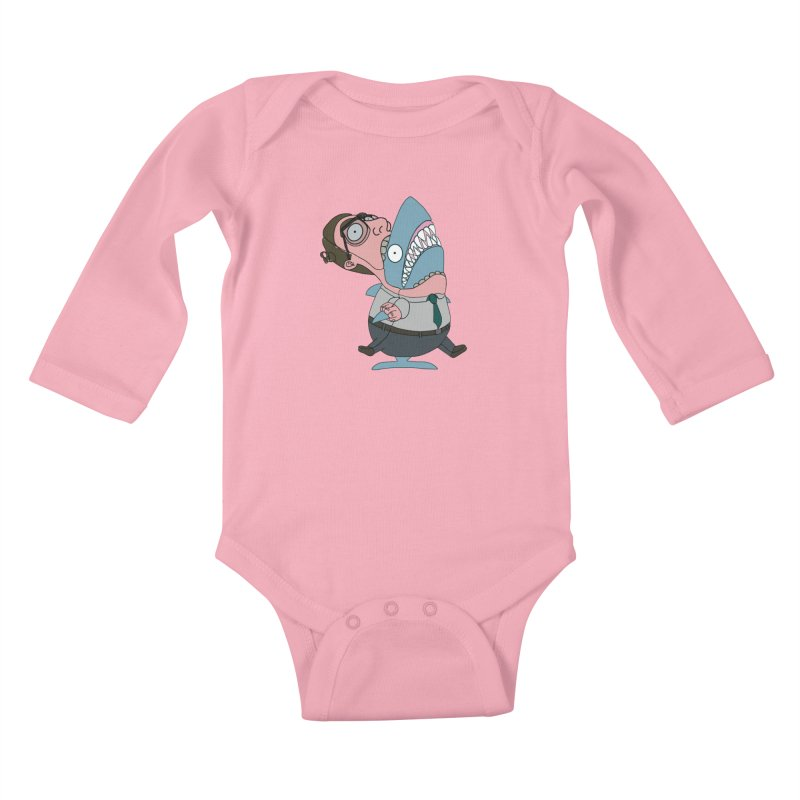 Man Shark Kids Baby Longsleeve Bodysuit by KAUFYSHOP