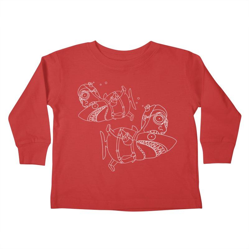 Man Sharks Kids Toddler Longsleeve T-Shirt by KAUFYSHOP