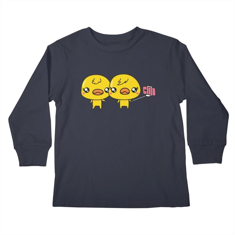 Social Animals - Cute Duck Face Selfie Stick Kids Longsleeve T-Shirt by Visit kawaeetee.com for more!
