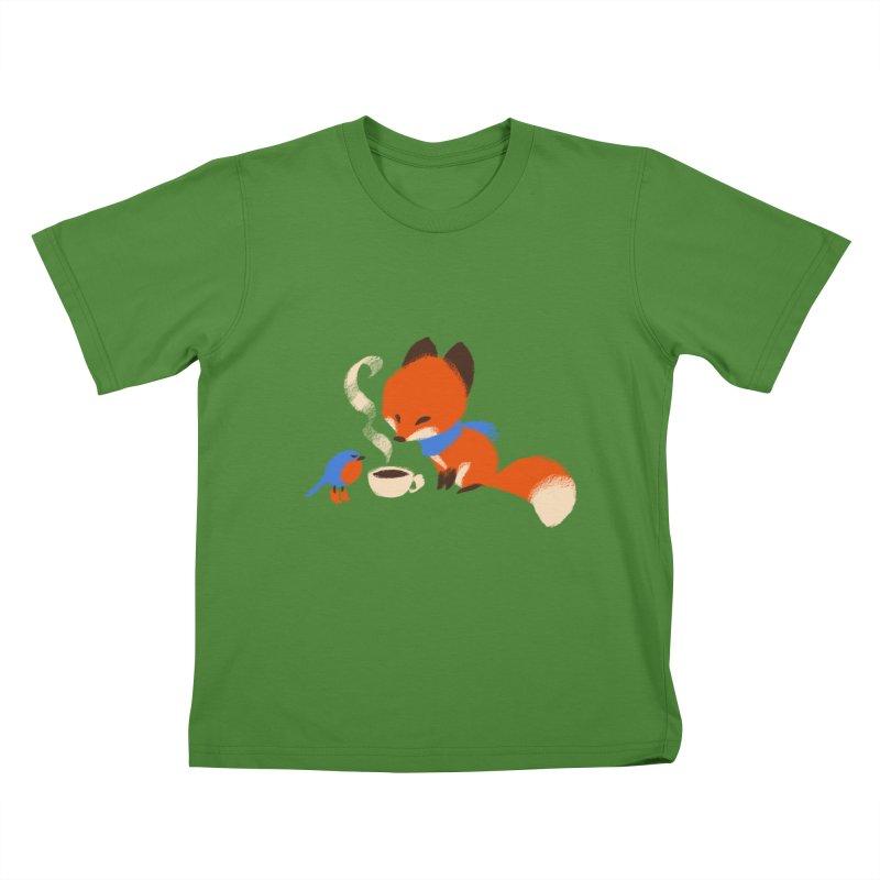 Fox & Boots: Tea Time Kids T-Shirt by kayjkay's Artist Shop