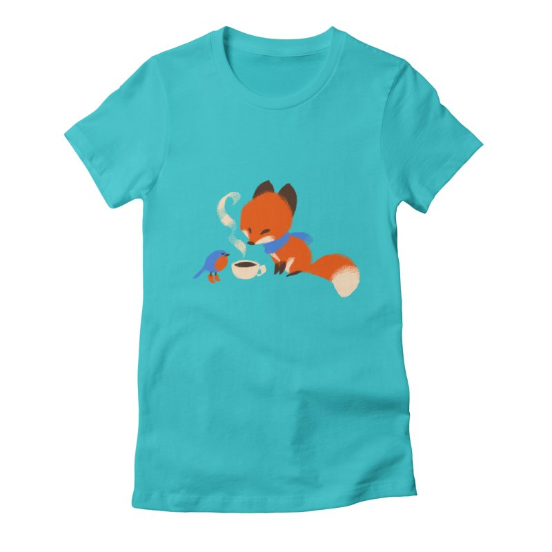 Fox & Boots: Tea Time Women's Fitted T-Shirt by kayjkay's Artist Shop