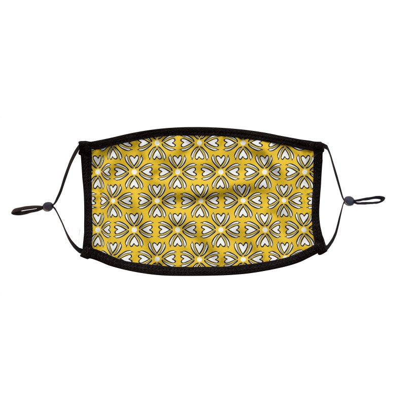 Kayt Miller Exclusive Pattern: Hot Pepper Flowers Yellow Accessories Face Mask by Kayt Miller merch
