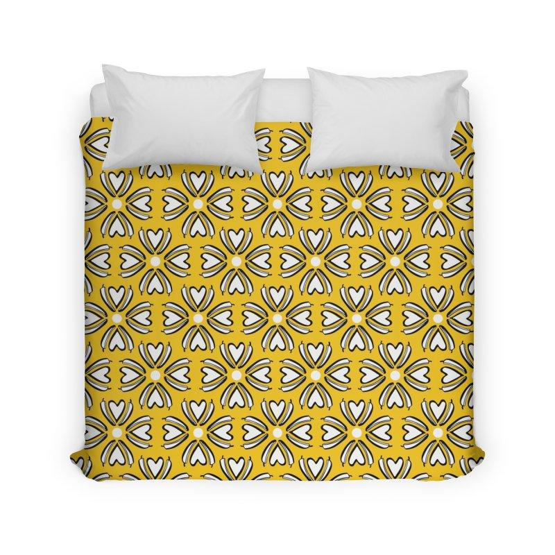 Kayt Miller Exclusive Pattern: Hot Pepper Flowers Yellow Home Duvet by Kayt Miller merch