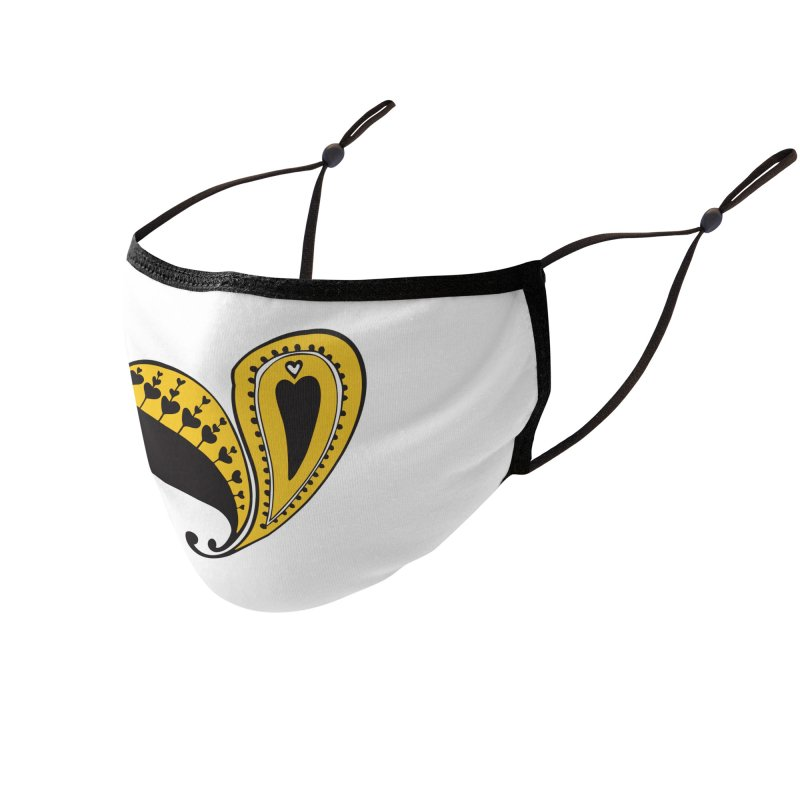 Kayt Miller Exclusive Paisley Heart Yellow Accessories Face Mask by Kayt Miller merch
