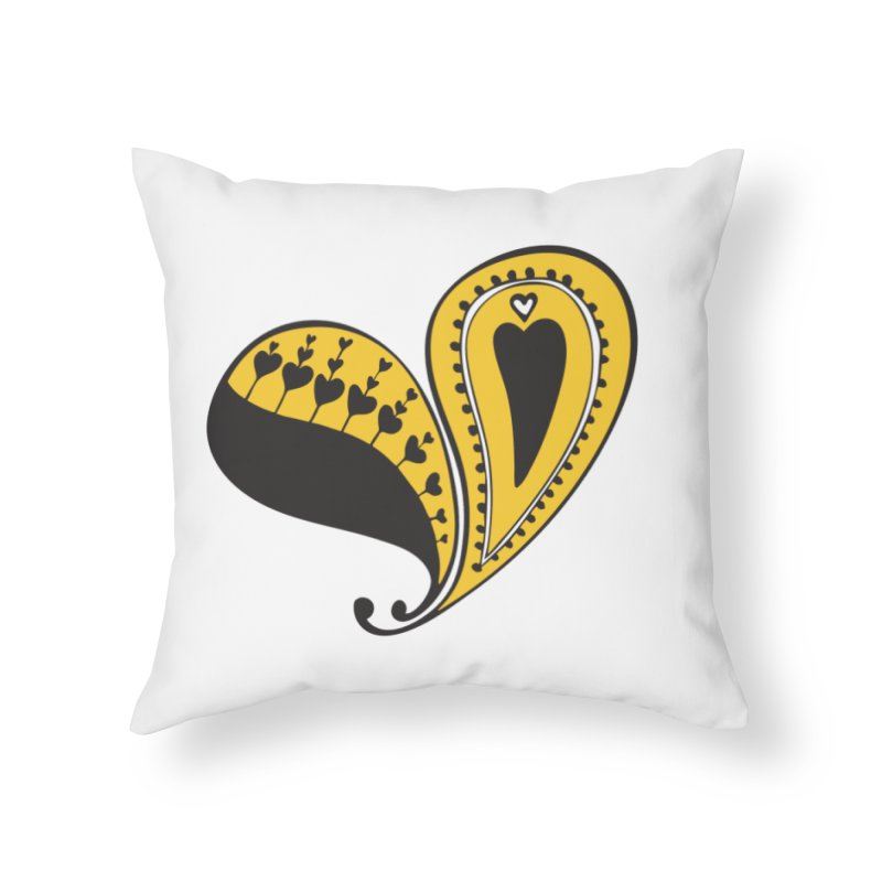 Kayt Miller Exclusive Paisley Heart Yellow Home Throw Pillow by Kayt Miller merch