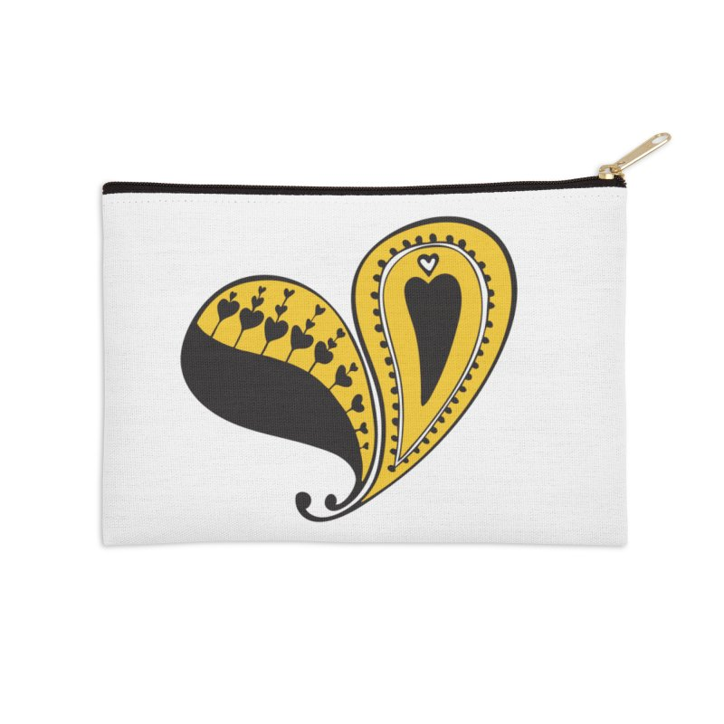 Kayt Miller Exclusive Paisley Heart Yellow Accessories Zip Pouch by Kayt Miller Merch
