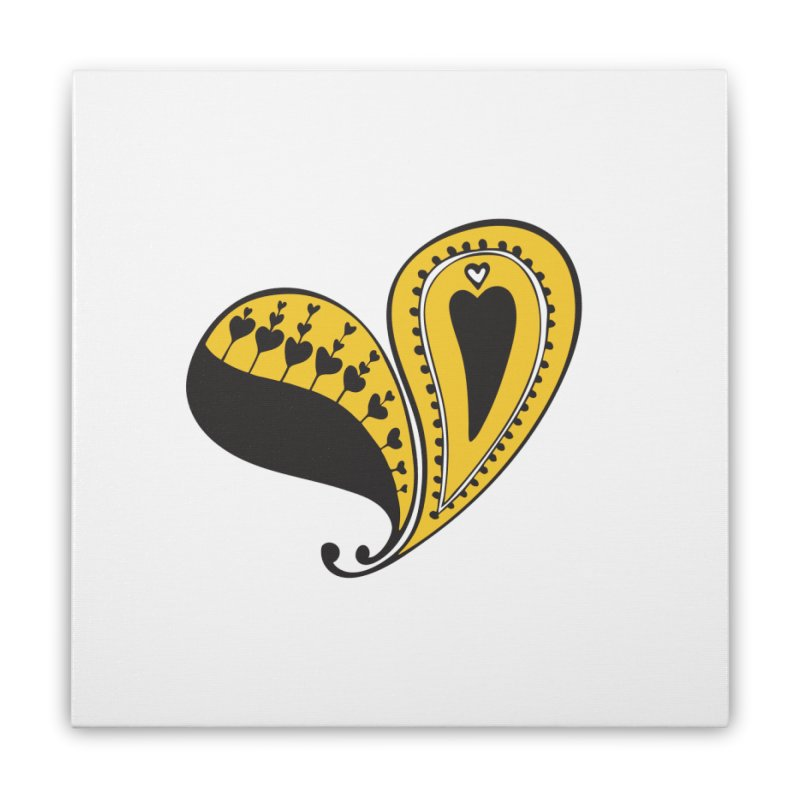 Kayt Miller Exclusive Paisley Heart Yellow Home Stretched Canvas by Kayt Miller merch