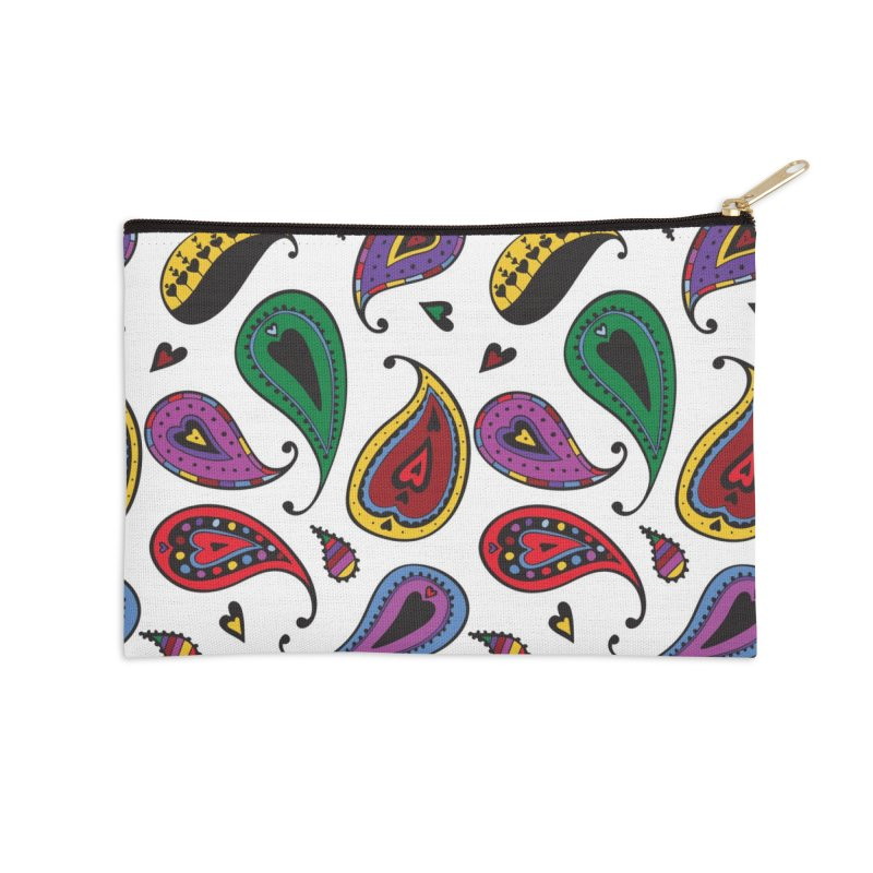 Kayt Miller Exclusive Paisley Heart Multi Large Accessories Zip Pouch by Kayt Miller Merch