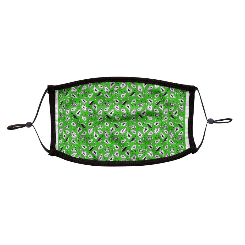Kayt Miller Exclusive Paisley Hearts Green Accessories Face Mask by Kayt Miller merch