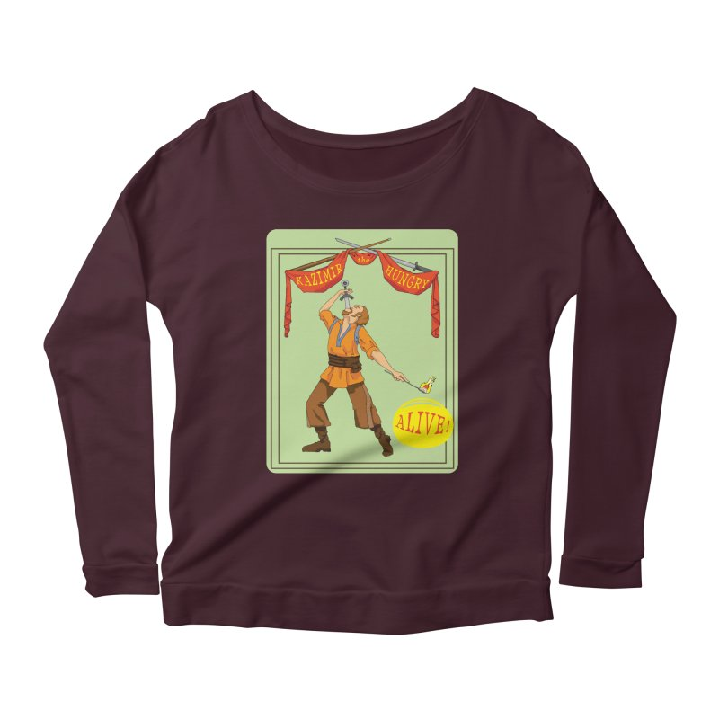 Sideshow Banner Women's Scoop Neck Longsleeve T-Shirt by Kazimir the Hungry Merchandise