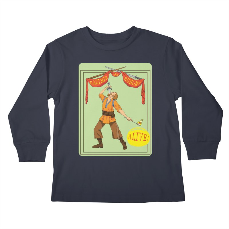 Sideshow Banner Kids Longsleeve T-Shirt by Kazimir the Hungry Merchandise