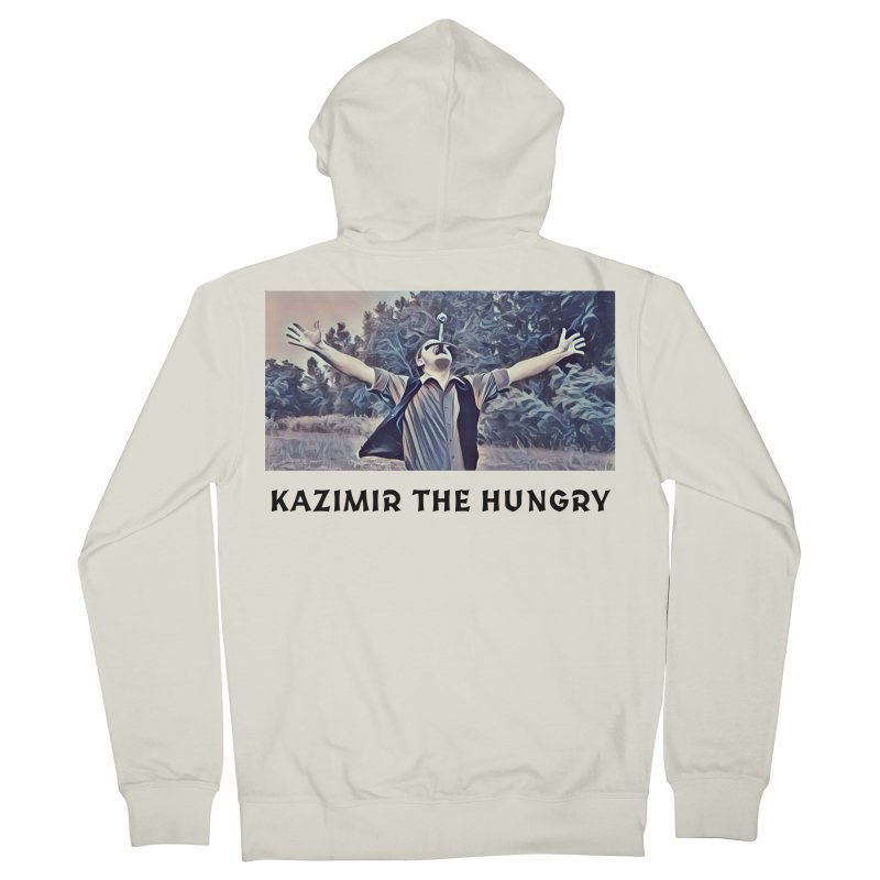 Triumph White Men's French Terry Zip-Up Hoody by Kazimir the Hungry Merchandise