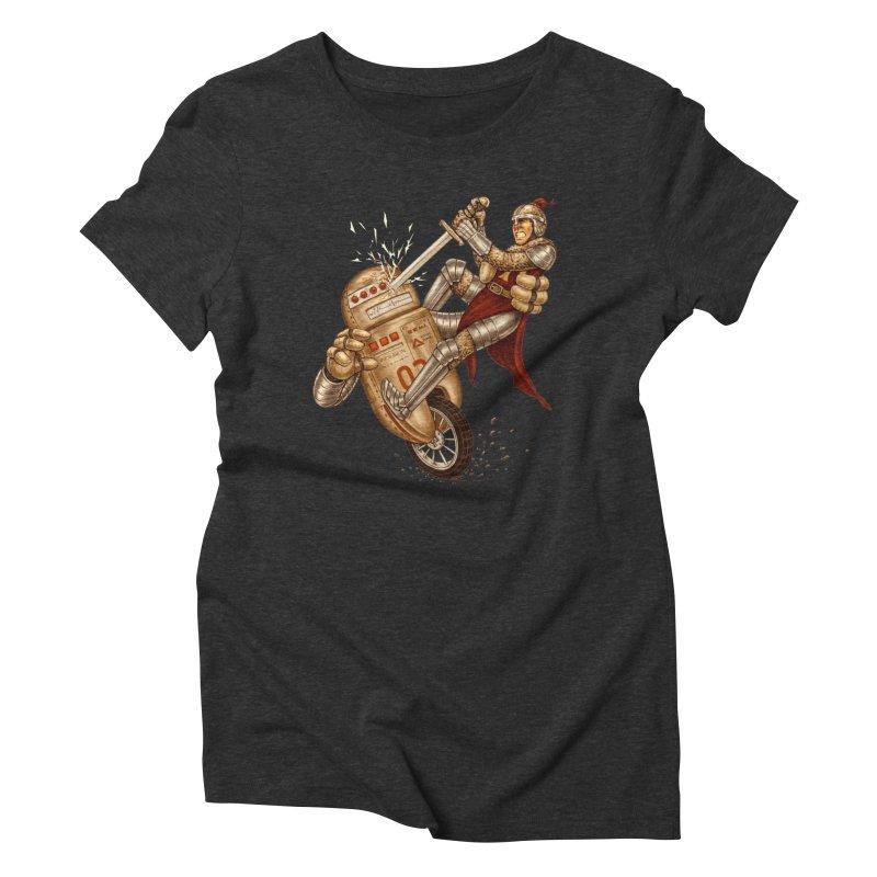 Knight VS Robot Women's Triblend T-shirt by kcarterart's Artist Shop