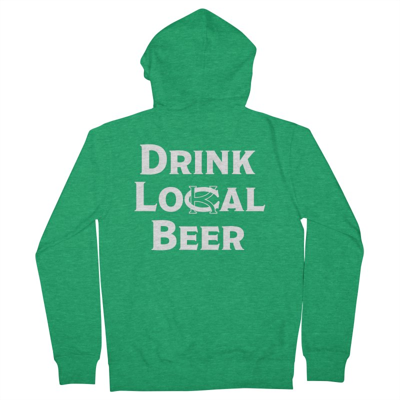 Drink Local Beer in Men's Zip-Up Hoody Heather Kelly by KC Beer Scouts Outfitters