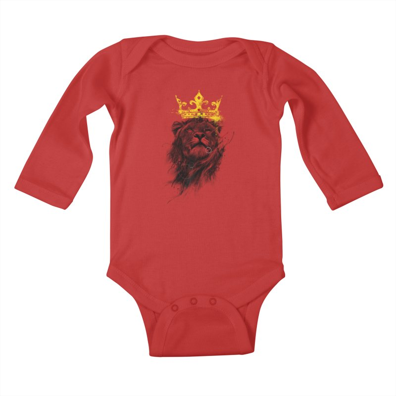 Kitty King Kids Baby Longsleeve Bodysuit by kdeuce's Artist Shop