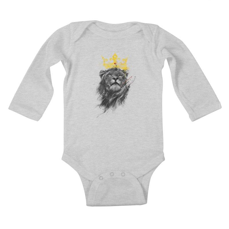 Kitty King Kids Baby Longsleeve Bodysuit by kdeuce's Artist Shop
