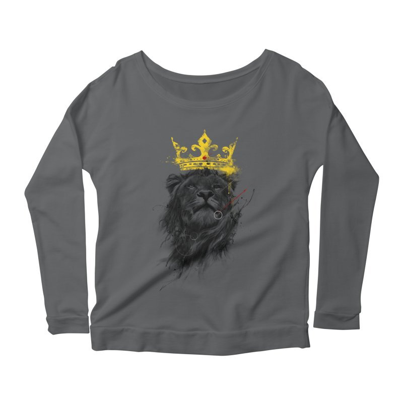 Kitty King Women's Longsleeve Scoopneck  by kdeuce's Artist Shop