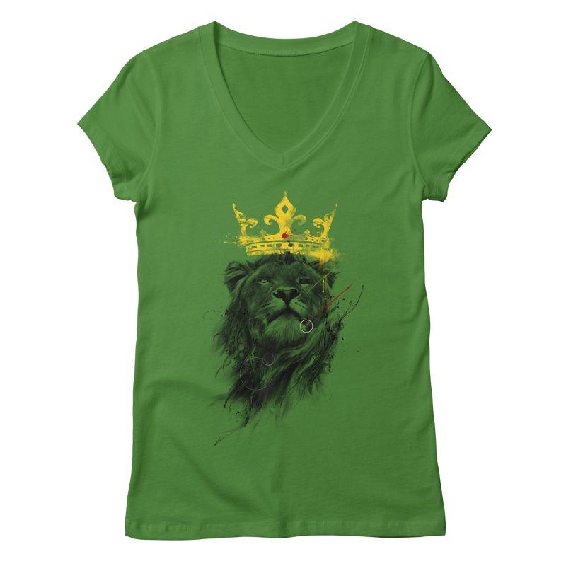 Kitty King Women's V-Neck by kdeuce's Artist Shop