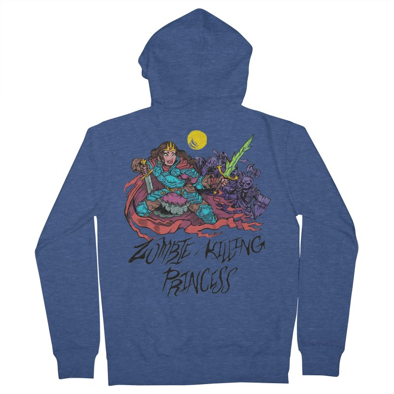 Zombie-Killing Princess (black text) Women's French Terry Zip-Up Hoody by Things You Might Find In A Dungeon