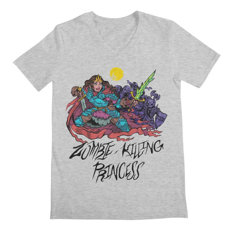 Zombie-Killing Princess (black text) Men's Regular V-Neck by Things You Might Find In A Dungeon