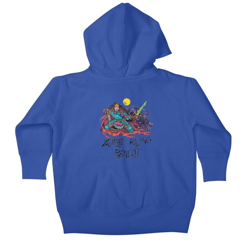 Zombie-Killing Princess (black text) Kids Baby Zip-Up Hoody by Things You Might Find In A Dungeon