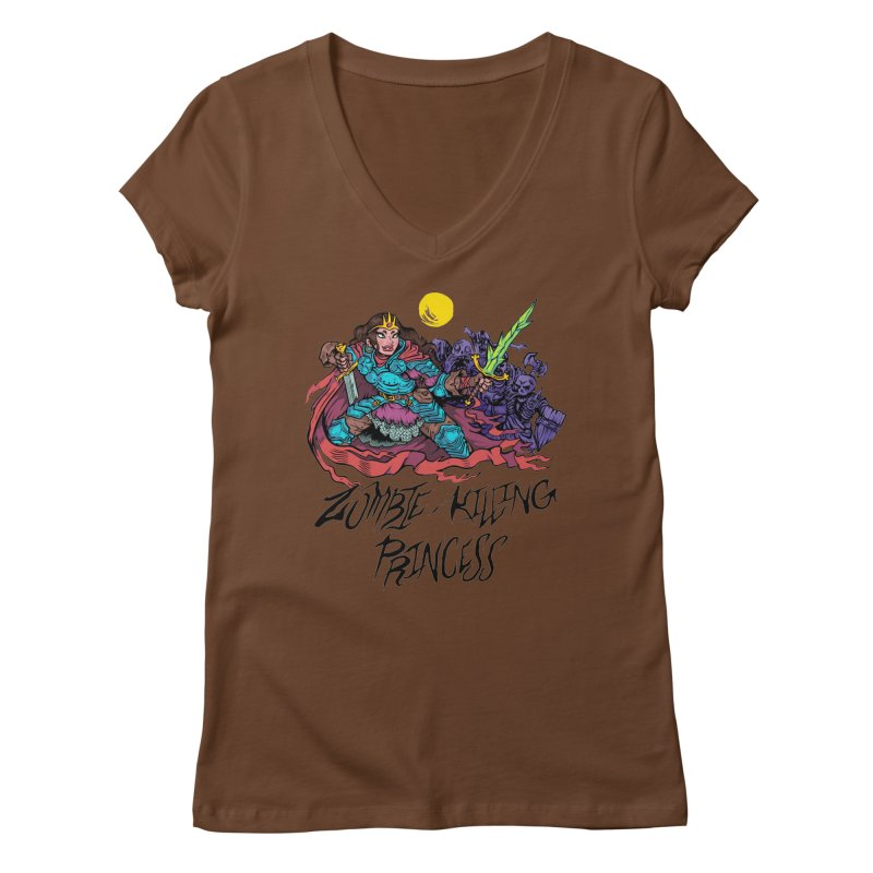 Zombie-Killing Princess (black text) Women's Regular V-Neck by Things You Might Find In A Dungeon