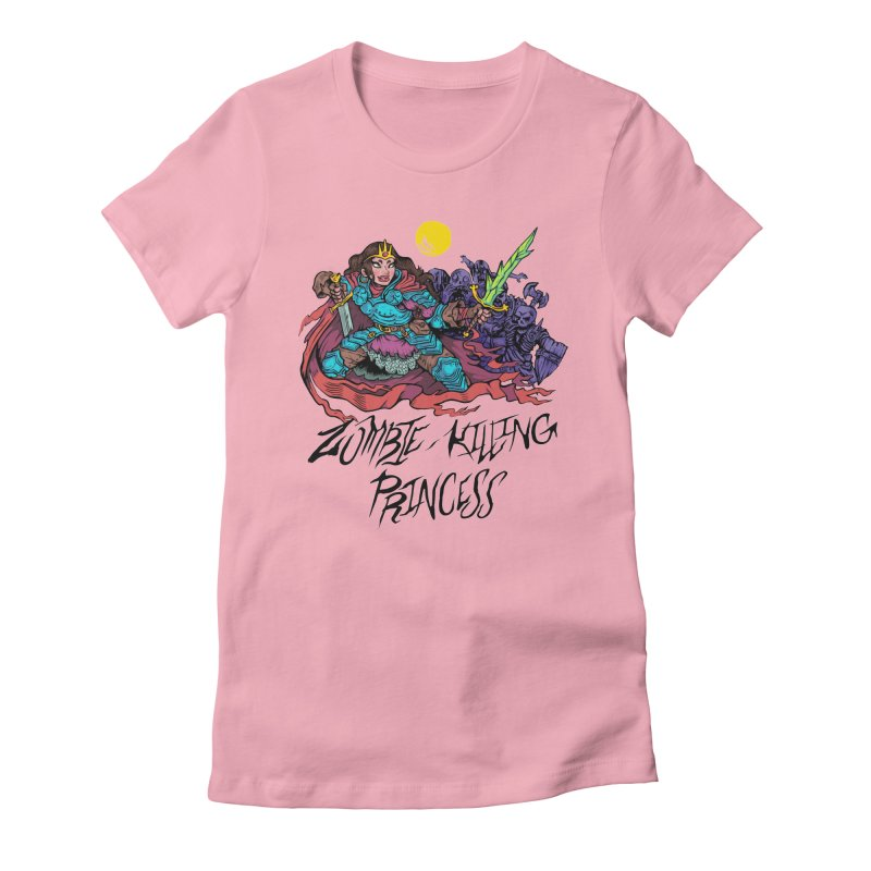 Zombie-Killing Princess (black text) Women's Fitted T-Shirt by Things You Might Find In A Dungeon