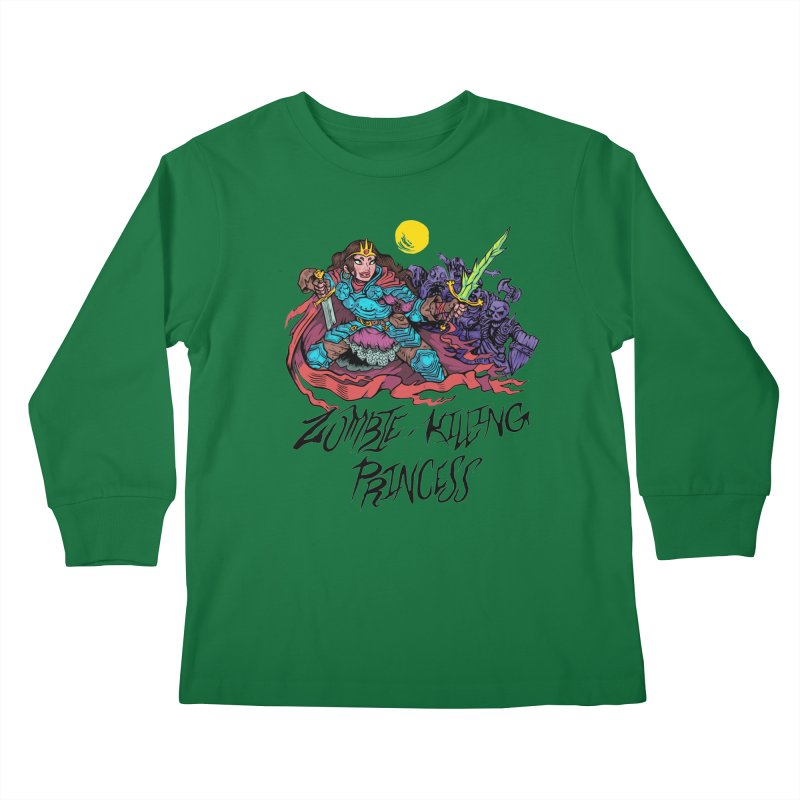 Zombie-Killing Princess (black text) Kids Longsleeve T-Shirt by Things You Might Find In A Dungeon