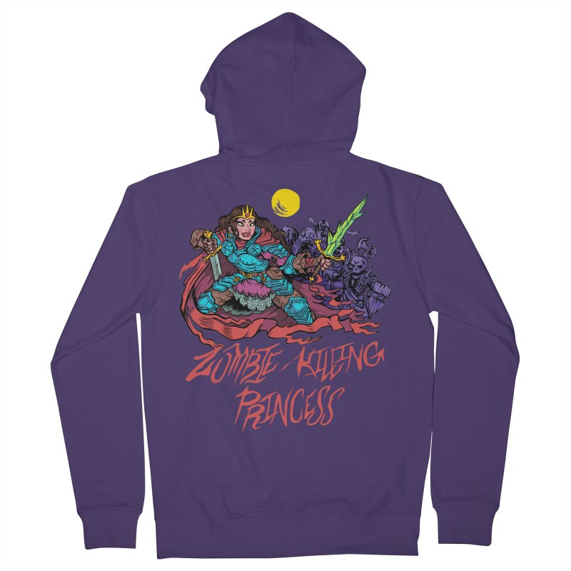 Zombie-Killing Princess (red text) Women's French Terry Zip-Up Hoody by Things You Might Find In A Dungeon