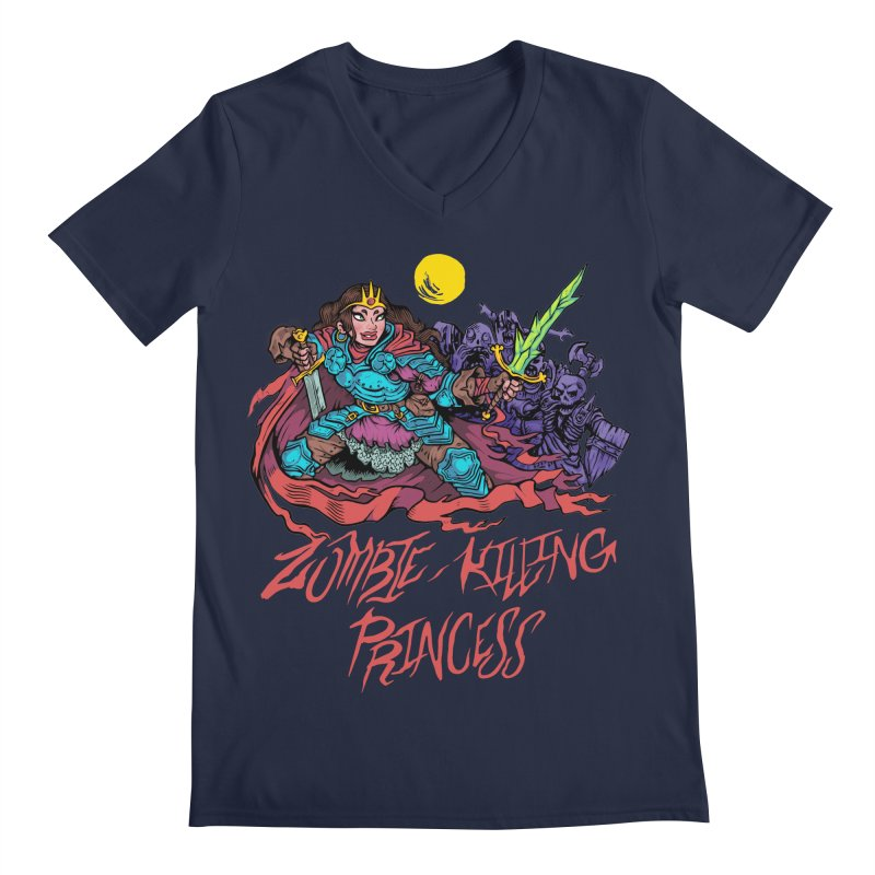 Zombie-Killing Princess (red text) Men's Regular V-Neck by Things You Might Find In A Dungeon