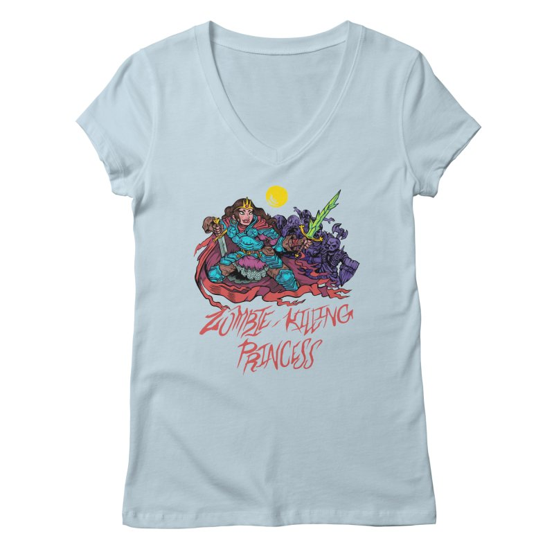 Zombie-Killing Princess (red text) Women's Regular V-Neck by Things You Might Find In A Dungeon