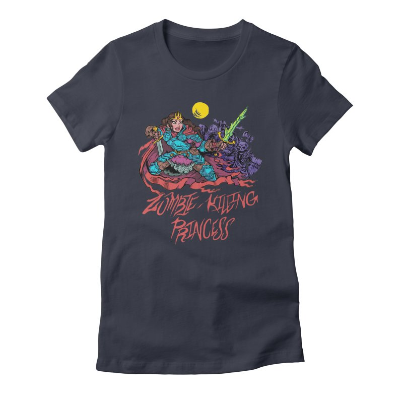 Zombie-Killing Princess (red text) Women's Fitted T-Shirt by Things You Might Find In A Dungeon