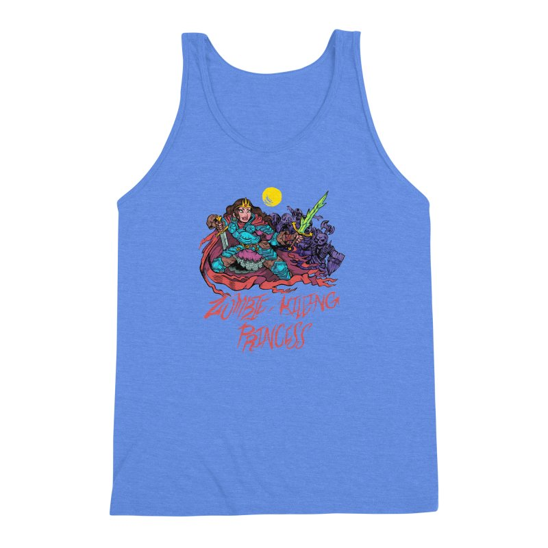 Zombie-Killing Princess (red text) Men's Triblend Tank by Things You Might Find In A Dungeon