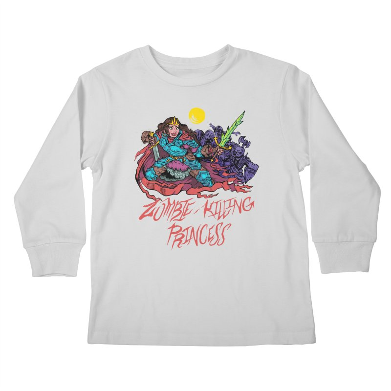 Zombie-Killing Princess (red text) Kids Longsleeve T-Shirt by Things You Might Find In A Dungeon