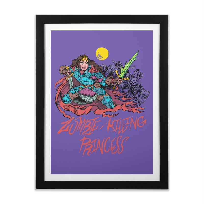 Zombie-Killing Princess (red text) Home Framed Fine Art Print by Things You Might Find In A Dungeon