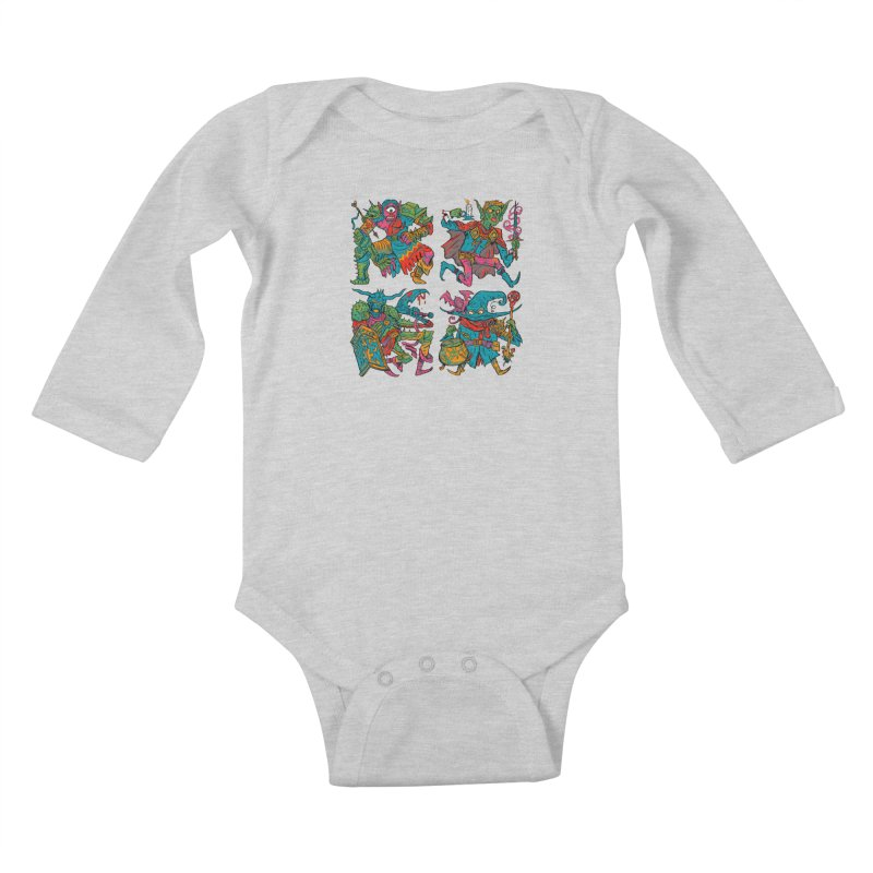 Adventuring Party Kids Baby Longsleeve Bodysuit by Things You Might Find In A Dungeon
