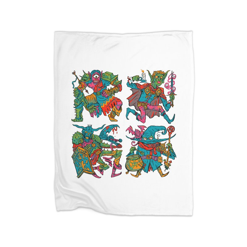 Adventuring Party Home Fleece Blanket Blanket by Things You Might Find In A Dungeon