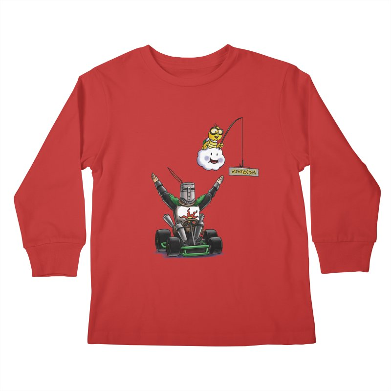 Dark Souls invades Mario Kart (Solaire of Astora) Kids Longsleeve T-Shirt by Keith Noordzy's Artist Shop