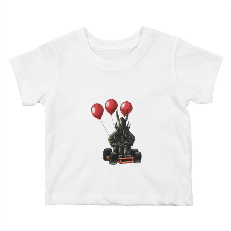 Dark Souls invades Mario Kart (Black Knight) Kids Baby T-Shirt by Keith Noordzy's Artist Shop